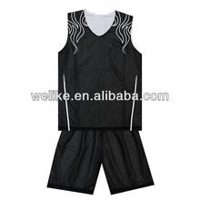 Black and white basketball uniform reversible mesh basketball jerseys wholesale basketball clothing