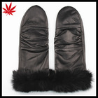 Wholesale fur trim leather mittens