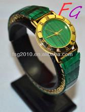 OT-WC-0008 Gianna Natural gem watch - Malachite Ladies quartz watch,japan quartz boy lady girl watch