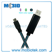 Newest EL Technology Custom USB Charger Cables with Glowing EL Light