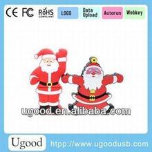 Popular Promotional 32gb PVC Santa Claus Shape Usb Flash Drive