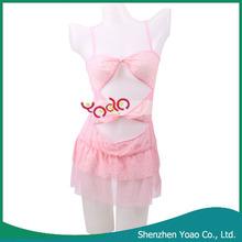 Night Dress Lingerie Sexy Llingerie Sleep Wear With Open Crotch T-Back Pink