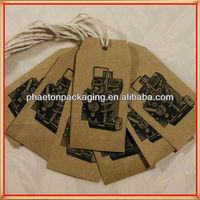 100% manufacturer vintage kraft paper black color car pattern die cut swing tags with hemp string