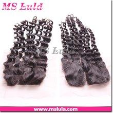 Elegant Queen Newest!!! 18inch #1B kinky curl mongolian hair cheap lace closure piece