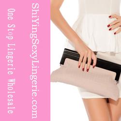 Graceful PU Leather Weave Frame Clutch Bag