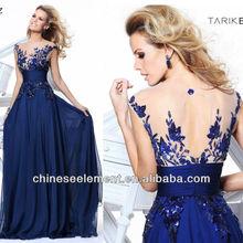 Wholesale Fashion Sequin Applique A-Line Sheer Crew Neck Key-Hole Back Chiffon Long Prom Dress 2014