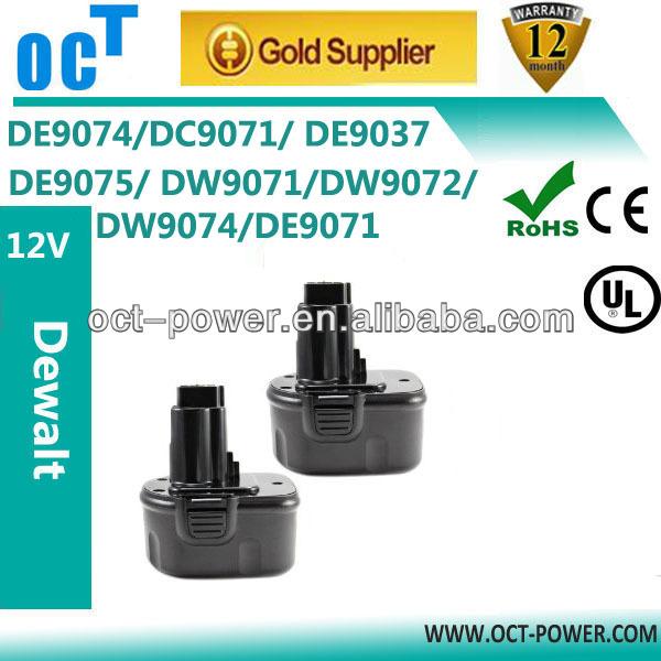 Dewalt 12V power tool battery, Dewalt DW9074/DE9075, Dewalt 12V NI-MH 3.0Ah