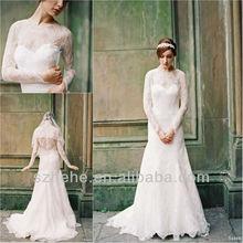 Free shipping CW1612 Elegant mermaid lace bridal long sleeve wedding gowns