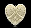 "Ivory Carved Flower Heart Charm Resin Pendants 5x4.5cm (2""x1-3/4""), sold per pack of 5,dorabeads"