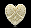 """Ivory Carved Flower Heart Charm Resin Pendants 5x4.5cm (2""""x1-3/4""""), sold per pack of 5,8years"""