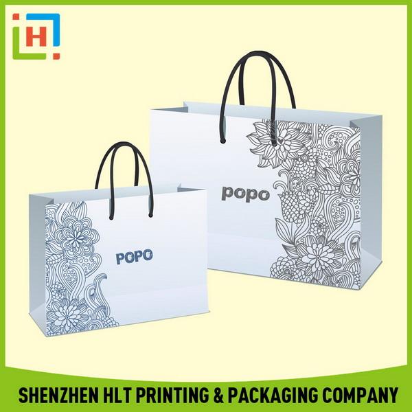 de moda de lujo pequeñoshotsell de papel impreso bolsa de la compra