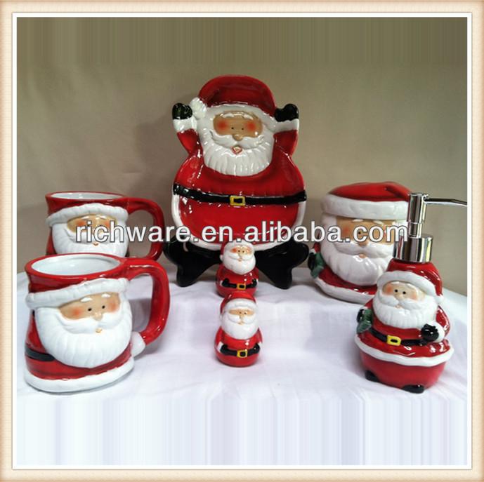 Accesorios De Baño De Ceramica:De cerámica de la navidad de papá noel taza, Plato de accesorios de