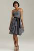 HC2140 Dark grey strapless sleeveless sweetheart neck with black sash layers chiffon skirt short urban style dresses party dress