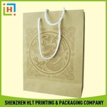 Popular branded kraft paper t-shirt bags for shopping