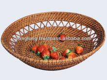 100% handmade round rattan fruit tray from Vietnam