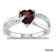 Top Design 925 Sterling Silver Garnet and Diamond Accent Heart Ring