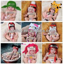 Feita à mão de tricô padrão bebê chapéus cap animais crochet imagens
