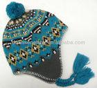 Fairisle pom trapper hat