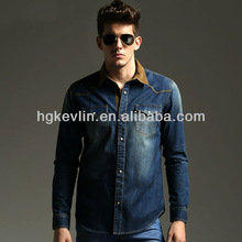 men's new style brand cotton in blue denim jeans pant and shirt