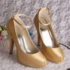 Small Size 34 Lady Hidden Platform Dresses Shoes Gold Color
