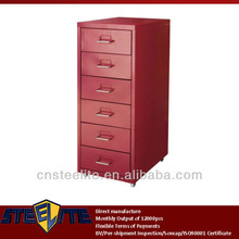 under desk red helmer six drawer cabinet Ikea series / Korea popular tall narrow 6-tier chest of drawers with wheels