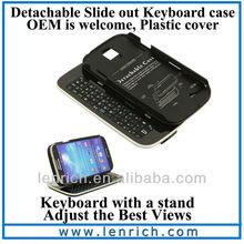 LBK307 New Sliding Bluetooth Keyboard Case For Samsung Galaxy S4 I9500 Bluetooth Detachable Keyboard Case For S4