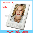 Cheap 7 inch TFT Ebook Reader with 4GB Memory Support TF Card D20