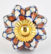Hand Painted Check Pattern Ceramic Knobs and Pulls for Cabinets and Kitchen Furniture