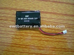 Green power Rechargeable NIMH BATTERY AAA800 3.6V for mobile TV
