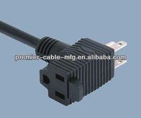 NEMA 5-15P pigtail America power cord piggyback plug