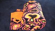 Bright Pink Orange and Black Heart Print Fleece Blanket