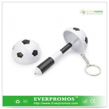 Soccer shape ballpoint pen with keychain