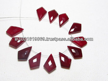 5 Matched Pairs Calibrated size 12x18 mm - Gorgeous Dark red Colour CHALCEDONY - Faceted Fancy Tie Shape Briolett Total 10 pcs