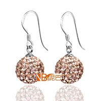 Latest Design Diamond Gold Light Peach Chandelier Earrings