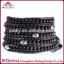 Fashion braclet black agate bead with skull leather charm bracelet