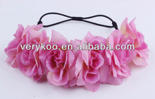 Pink Wedding Artificial Hawaii Rose Flower Elastic Garland Wreath Headband