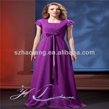 Elegant bag hip chiffon dress with short sleeves evening dress