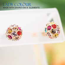 D0414 Elegant Fullstone Ball Stud Earring Zinc Alloy 18K Champagne Gold & Rhodium Plated With Austria Crystal Jewelry Wholesale