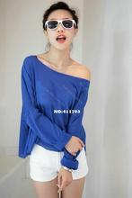 New Korea Cool Batwing Sleeve Fashion Women's Slit Neckline Bright Fluorescence Color Base t-shirt