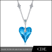 2014 New Arriver Bijouterie Sapphire Heart Necklace For Girl