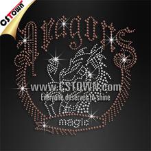 Wholesale custom rhinestone dragon hotfix tshirt transfer patterns