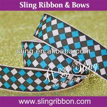 Chess Plaid Printed Grosgrain Ribbon For Packaging