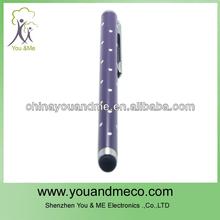 Rhinestone Ballpoint Pen Style Capacitive Screen Stylus Pen w/ Clip for iPhone / iPad