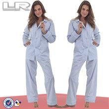 Vente chaude bleu 3D bande classique pyjama pour Sexy femmes