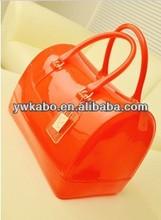 2014 New fashion beautiful woman colour rubber satchel bag top zip closure silicone rubber bag