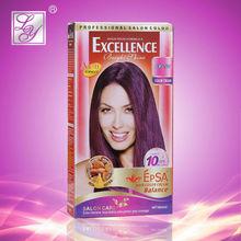Permanent dark brown purple hair color