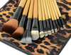 12 PCS professional Cosmetic Make up Brush Set Eyebrow Pencil Lip Liner Leopard Holder Bag 18518