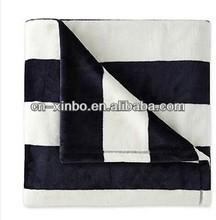 Super Plush Soft Cozy Navy/White/Stripes Velvet Throw/Blanket
