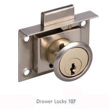 Tool box drawer lock and computer desks with locking drawer push lock