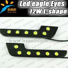Factory Supply wholesale price L-Shape led eagle eyes for car head side front lights,12v 12w led drl daylight car driving lights
